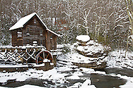 67395-04210 Glade Creek Grist Mill in winter, Babcock State Park, WV