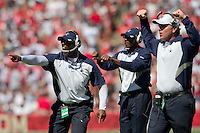 18 September 2011: Dallas Cowboys coaches yell in plays against the San Francisco 49ers during the first half of the Cowboys 27-24 overtime victory against the 49ers in an NFL football game at Candlestick Park in San Francisco, CA