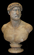 Marble bust of Hadrian, Roman, AD117-138.  Probably from Rome, Italy.  Hadrian, like all Roman emperors, used statues to diffuse his image across the Roman world.  Statues often showed the emperor as a general or a priest.  This bust shows Hadrian naked.