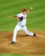 Jul. 15 2011; Phoenix, AZ, USA; Arizona Diamondbacks starting pitcher Joe Saunders (34) a pitch during the second inning against the Los Angeles Dodgers at Chase Field. The Dodgers defeated the Diamondbacks 6-4. Mandatory Credit: Jennifer Stewart-US PRESSWIRE.