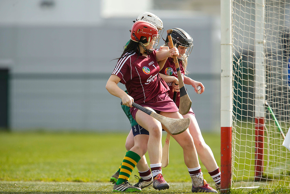 National Camogie League Division 2 at Trim, 20th March 2016<br /> Meath vs Galway<br /> Jane Dolan (Meath) & Tara Murphy / Lorraine Coen (Galway)<br /> Photo: David Mullen /www.cyberimages.net / 2016