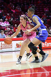 NORMAL, IL - February 10: Lexi Wallen defended by Daijah Smith during a college women's basketball Play4Kay game between the ISU Redbirds and the Indiana State Sycamores on February 10 2019 at Redbird Arena in Normal, IL. (Photo by Alan Look)