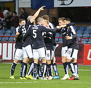 Dundee&rsquo;s Kane Hemmings is congratulated after scoring the opening goal of his hat-trick - Dundee v Hamilton, Ladbrokes Premiership at Dens Park<br /> <br />  - &copy; David Young - www.davidyoungphoto.co.uk - email: davidyoungphoto@gmail.com