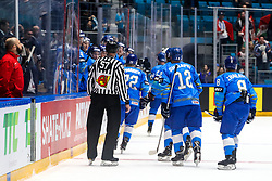 Players of Kazakhstan celebrate after scoring a goal during ice hockey match between Kazakhstan and Belarus at IIHF World Championship DIV. I Group A Kazakhstan 2019, on May 4, 2019 in Barys Arena, Nur-Sultan, Kazakhstan. Photo by Matic Klansek Velej / Sportida