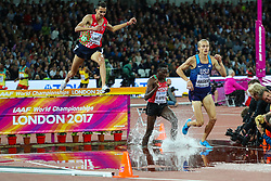 London, August 08 2017 . Evan Jager, USA, leads the field on lap 4 in the men's 3,000m steeplechase final on day five of the IAAF London 2017 world Championships at the London Stadium. © Paul Davey.