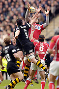 2006, Powergen Cup, Twickenham, Wasps Richard Birkett [N0.5] and Joe Worsley, jump with Scarlets Inoke Afeaki, London Wasps vs Llanelli Scarlets, ENGLAND, 09.04.2006, 2006, , © Peter Spurrier/Intersport-images.com.   [Mandatory Credit, Peter Spurier/ Intersport Images].