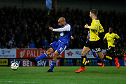Ipswich Town striker David McGoldrick (10) has a shot but it is saved by Burton Albion goalkeeper Jon McLaughlin (1)during the EFL Sky Bet Championship match between Burton Albion and Ipswich Town at the Pirelli Stadium, Burton upon Trent, England on 14 April 2017. Photo by Richard Holmes.