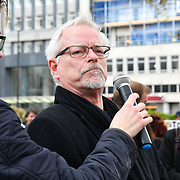 Dr Pieter Kat of Lion Aid addresses the crowds at the 5th Global March for Elephants and Rhinos march against extinction and trophy hunting murdering and killing animals for blood spots and ivory trade on 13 April 2019, London, UK.