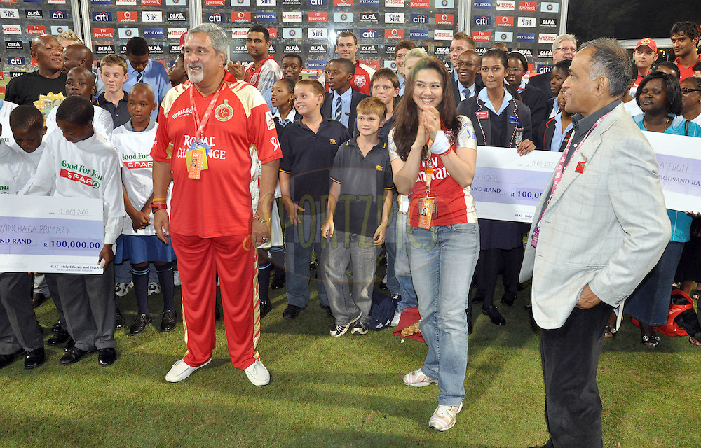 DURBAN, SOUTH AFRICA - 1 Mayl 2009. Cheque handover during the IPL Season 2 match between Kings X1 Punjab and the Royal Challengers Bangalore held at Sahara Stadium Kingsmead, Durban, South Africa..