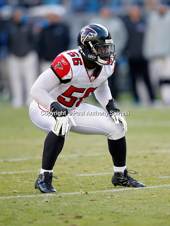 Atlanta Falcons outside linebacker Sean Weatherspoon (56) gets set for the snap during the NFL week 14 football game against the Carolina Panthers on Sunday, December 11, 2011 in Charlotte, North Carolina. The Falcons won the game 31-23. ©Paul Anthony Spinelli