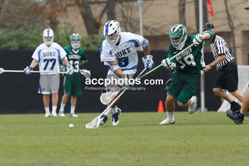 DURHAM, NC - MARCH 18: CJ Costabile #9 of the Duke Blue Devils during a game against the Dartmouth Big Green on March 18, 2012 at Koskinen Stadium in Durham, North Carolina. Duke won 9-20. (Photo by Peyton Williams/Getty Images) *** Local Caption *** CJ Costabile