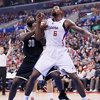 16 November 2013: Brooklyn Nets power forward Reggie Evans (30) vies for the rebound with Los Angeles Clippers center DeAndre Jordan (6) during the Los Angeles Clippers 110-103 victory over the Brooklyn Nets at the Staples Center, Los Angeles, California, USA.