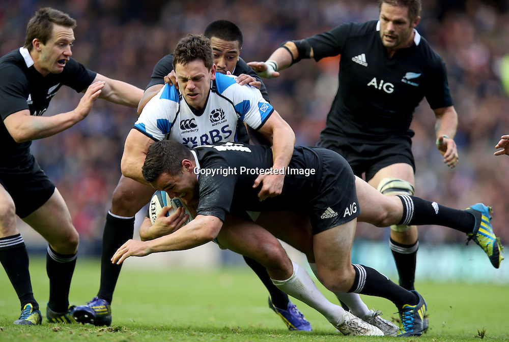 2012 Air New Zealand European Tour 11/11/2012<br /> Scotland vs New Zealand<br /> New Zealand's Tamati Ellison tackled by Nick De Luca of Scotland, Scotland v New Zealand All Blacks, Murrayfield Stadium, Edinburgh, Scotland, Sunday 11th November 2012. <br /> Mandatory Credit &copy;INPHO/Dan Sheridan