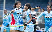 ANTWERP -   Rani Rani (l) has scored for India   during  the match between the women of India and Poland .   middleLilima Minz and Vandana Katariya (r) . WSP COPYRIGHT KOEN SUYK