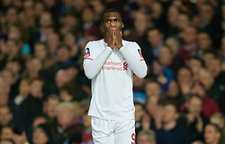 LONDON, ENGLAND - Tuesday, February 9, 2016: Liverpool's Christian Benteke looks dejected after missing a chance against West Ham United during the FA Cup 4th Round Replay match at Upton Park. (Pic by David Rawcliffe/Propaganda)