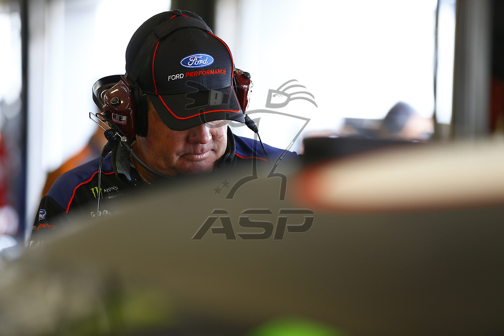 July 07, 2017 - Sparta, KY, USA: A crew member for Trevor Bayne (6) hangs out in the garage during practice for the Quaker State 400 at Kentucky Speedway in Sparta, KY.