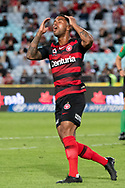 SYDNEY, AUSTRALIA - MARCH 30: Western Sydney Wanderers player Kwame Yeboah (27) disappointed after missing a chance at round 23 of the Hyundai A-League Soccer between Western Sydney Wanderers FC and Melbourne City FC on March 30, 2019 at ANZ Stadium in Sydney, Australia. (Photo by Speed Media/Icon Sportswire)