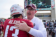 STARKVILLE, MS - NOVEMBER 17:  Head Coach Joe Moorhead of the Mississippi State Bulldogs hugs after the game Connor Noland #13 of the Arkansas Razorbacks at Davis Wade Stadium on November 17, 2018 in Starkville, Mississippi.  The Bulldogs defeated the Razorbacks 52-6.  (Photo by Wesley Hitt/Getty Images) *** Local Caption *** Joe Moorhead; Connor Noland