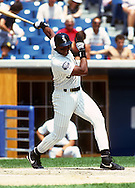 CHICAGO - 1991:  Frank Thomas of the Chicago White Sox bats during an MLB game at Comiskey Park in Chicago, Illinois.  Thomas played for the White Sox from 1990-2005. (Photo by Ron Vesely)