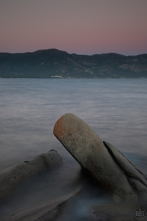 """Tahoe Boulders at Sunset 3"" - These boulders and sunset were photographed at Crystal Point in Crystal Bay, Lake Tahoe."