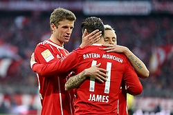 31.03.2018, Allianz Arena, Muenchen, GER, 1. FBL, FC Bayern Muenchen vs Borussia Dortmund, 28. Runde, im Bild Thomas Mueller (FC Bayern Muenchen #25) James Rodriguez (FC Bayern Muenchen #11) Rafinha (FC Bayern Muenchen #13) // during the German Bundesliga 28th round match between FC Bayern Munich and Borussia Dortmund at the Allianz Arena in Muenchen, Germany on 2018/03/31. EXPA Pictures © 2018, PhotoCredit: EXPA/ Eibner-Pressefoto/ Harry Langer<br /> <br /> *****ATTENTION - OUT of GER*****