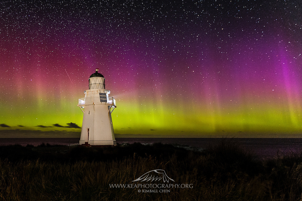 The Aurora Australis illuminates behind the Waipapa Point Lighthouse in the Catlins, New Zealand.  March 19th, 2015.
