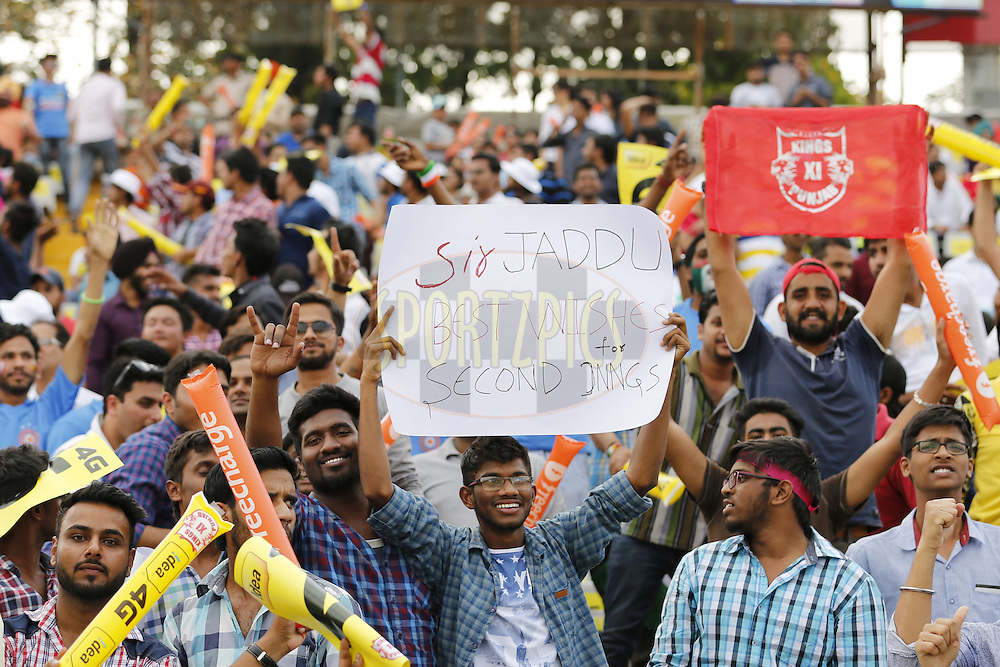 Fans during match 10 of the Vivo Indian Premier League ( IPL ) 2016 between the Kings XI Punjab and the Rising Pune Supergiants held at the IS Bindra Stadium, Mohali, India on the 17th April 2016<br /> <br /> Photo by Arjun Singh / IPL/ SPORTZPICS