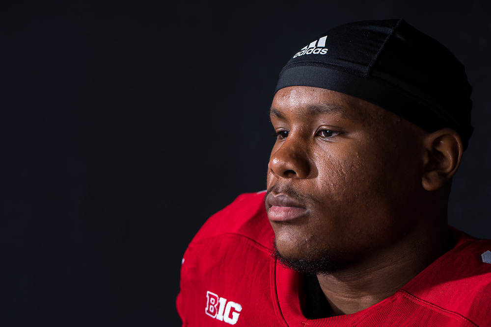 TREY BRYANT #18, during a portrait session at Memorial Stadium in Lincoln, Neb. on June 7, 2017. Photo by Paul Bellinger, Hail Varsity