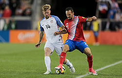 September 1, 2017 - Harrison, NJ, USA - Harrison, N.J. - Friday September 01, 2017:  Tim Ream, Marco Ureña during a 2017 FIFA World Cup Qualifying (WCQ) round match between the men's national teams of the United States (USA) and Costa Rica (CRC) at Red Bull Arena. (Credit Image: © John Dorton/ISIPhotos via ZUMA Wire)