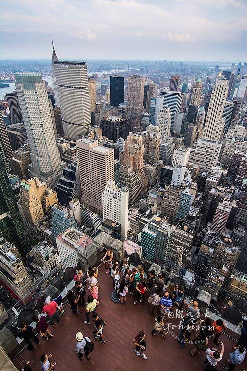 Tourists on the viewing platform of Rockefeller Center, Top of the Rock, Manhattan, New York City, New York, USA