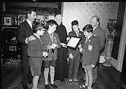 Irish Amateur Swimming Presentation.<br /> 1966.<br /> 27.06.1966.<br /> 06.27.1966.<br /> 27th June 1966.<br /> Willow Park Preparatory School, Booterstown and The Central Remedial Clinic,Dublin were among the winners in The Dolphin Trophy scheme which aims to reduce deaths by drowning among children,the scheme encourages the teaching of swimming by schools.Coca - Cola sponsored the event and were represented by Mr Barry Egan, Joint Managing Director,Coca-Cola Bottling Company,Dublin. the event was held under the auspices of the Irish Amateur Swimming Association.<br /> Picture shows Mr Jim Brown,Coca-Cola, Fr K M Slattery,Principal,Willow Park,Mr Barry Egan, Coca-Cola and some of the pupils of Willow Park,Preparatory School.