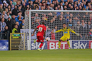 Anthony Strakers opening goal during the Pre-Season Friendly match between York City and Newcastle United at Bootham Crescent, York, England on 29 July 2015. Photo by Simon Davies.