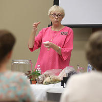 Lauren Wood | Buy at photos.djournal.com<br /> Betty Lou Miller of the Mississippi State Extension Services talks about different tools to use during the Terrarium 101 class of the Mud and Magnolias Home and Garden Expo Saturday morning at the ICC Belden campus.