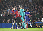 West Brom midfielder James McClean and Chelsea goalkeeper Thibaut Courtois having words87 during the Barclays Premier League match between Chelsea and West Bromwich Albion at Stamford Bridge, London, England on 13 January 2016. Photo by Matthew Redman.
