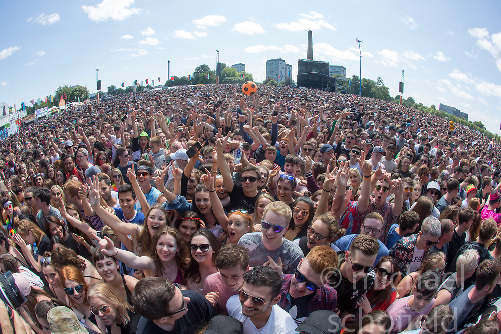 Crowd as Stormzy play the main stage. Saturday at TRNSMT music festival, Glasgow Green.