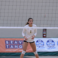 3rd year outside hitter Ashlee Sanford (1) of the Regina Cougars in action during the Women's Volleyball Home Game vs Trinity Western  on October 28 at the CKHS University of Regina. Credit Matt Johnson/Arthur Images