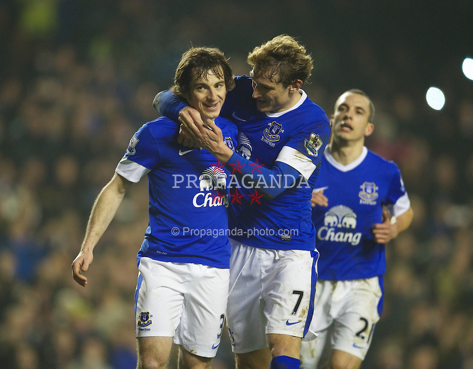 LIVERPOOL, ENGLAND - Tuesday, February 26, 2013: Everton's Leighton Baines celebrates scoring the second goal against Oldham Athletic from the penalty spot with team-mate Nikica Jelavic during the FA Cup 5th Round Replay match at Goodison Park. (Pic by David Rawcliffe/Propaganda)