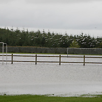 Seagulls fly over the waterlogged Ballycasey Soccer Pitches on Thursday.<br /> <br /> Photograph by Eamon Ward