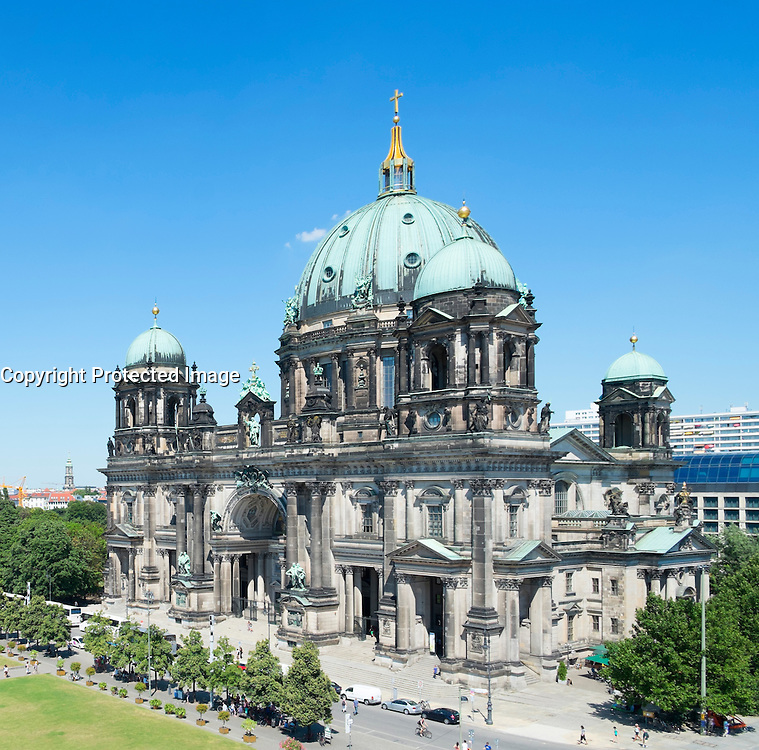 view of Berlin Cathedral or Dom on Museum Island or Museumsinsel In Berlin Germany