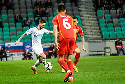 Petar Stojanović of Slovenia and Visar Musliu of Macedonia during football match between National teams of Slovenia and North Macedonia in Group G of UEFA Euro 2020 qualifications, on March 24, 2019 in SRC Stozice, Ljubljana, Slovenia.  Photo by Matic Ritonja / Sportida