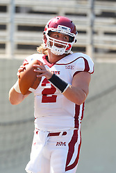 September 24, 2011; San Jose, CA, USA; New Mexico State Aggies quarterback Matt Christian (2) warms up before the game against the San Jose State Spartans at Spartan Stadium.