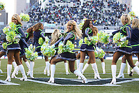 SEATTLE - NOVEMBER 7: Cheerleaders of the Seattle Seahawks cheer during the game against the New York Giants at Qwest Field on November 7, 2010 in Seattle, Washington. The Giants defeated the Seahawks 41-7.(Photo by Tom Hauck) Player: