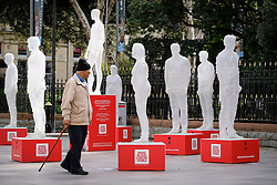 ©Licensed to London News Pictures<br /> 12/9/2018. Cardiff,Wales,UK. A installation to mark blood cancer awareness month is currently in Cardiff before visiting other cities in the UK. Featuring 10 life-size transparent figures which represent the invisible or 'unseen' nature of blood cancer. It aims to engage passers by to support the campaign. Each figure shares an audio story of individuals living with blood cancer making them seen and heard.<br /> Photo Credit: Alistair Heap/LNP