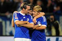 FUSSBALL   1. BUNDESLIGA   SAISON 2012/2013   5. SPIELTAG FC Schalke 04 - FSV Mainz 05                               25.09.2012        Christian Fuchs, Klaas Jan Huntelaar und Lewis Holtby (v.l., alle FC Schalke 04) jubeln nach dem 2:0
