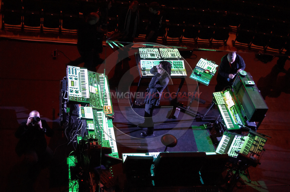 An overhead view of Jarre amongst his array of instruments