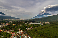 Volcan de Fuego sends out an ash plume in western Guatemala on Sunday, June 3, 2018. Nearby towns experienced many dead and missing in the eruption produced a few hours after this one. Aerial photo shot by drone in Antigua, Guatemala.