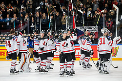 Jeff Skinner of Canada and other players of Canada celebrate after the 2017 IIHF Men's World Championship group B Ice hockey match between National Teams of Belarus and Canada, on May 8, 2017 in Accorhotels Arena in Paris, France. Photo by Vid Ponikvar / Sportida