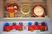 2008 Olympic Games Fuwa mascots plates and paperweights, souvenir shop, Wangfujing Street, China