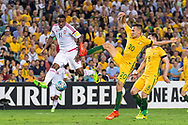 March 28 2017: Socceroos Trent SAINSBURY (20) gets the ball past United Arab Emirates Ahmed KHALIL (11) at the 2018 FIFA World Cup Qualification match, between The Socceroos and UAE played at Allianz Stadium in Sydney.
