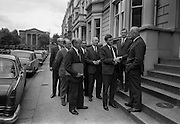 "20/07/1967<br /> 07/20/1967<br /> 20 July 1967 <br /> Ulster Farmers Union meet National Farmers Association at N.F.A. House, Dublin. Six members of the Ulster Farmers Union led by their President Mr Pat Byrne had a meeting with the N.F.A., where they discussed the position of the livestock trade and what steps might be taken to avoid ""a crisis later this year, similar to what happened last year"". Also discussed was the implications of membership of the Common Market. Picture shows Mr Pat Byrne, President U.F.U. being greeted by Mr Richard Deasy, President N.F.A. with Mr Brendan Power Acting General Secretary N.F.A. in the centre and the other members of the U.F.U who included, Mr James Jordan, Deputy President U.F.U.; Mr. James T. O'Brien, General secretary U.F.U.; Mr Tom Orr, Junior Deputy President; Mr. F.M.B. Loane, Secretary Livestock Committee U.F.U. and Mr. A. McLurg, Livestock Committee U.F.U. outside N.F.A. House."